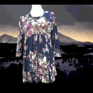 Babydoll Tunic Top Floral Stretch Pullover M